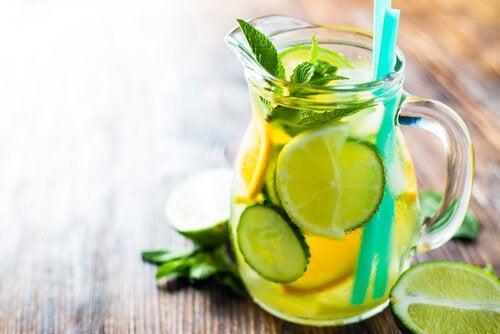 Огурец и лимон для приготовления домашних тоников