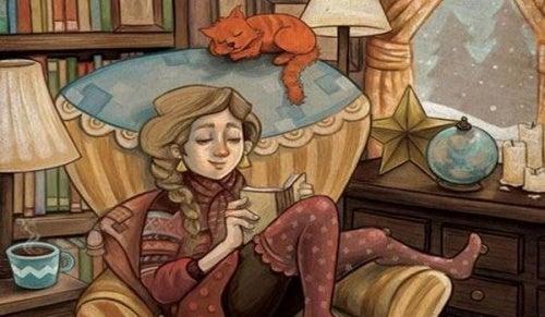 Девушка с котом на софе