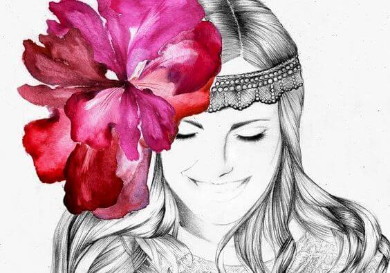 Женщина с цветком в волосах и простота