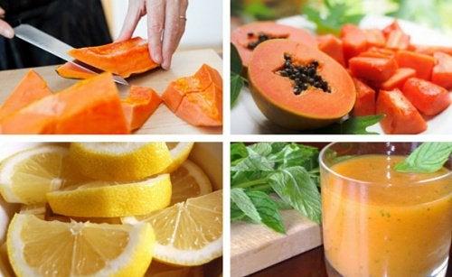 Очищающий коктейль из папайи и лимона, полезный для желудка
