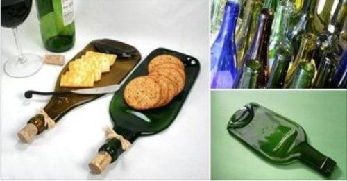 Как сделать из стеклянной бутылки оригинальную тарелку для снэков