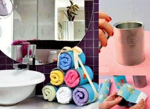 Сделайте органайзер для полотенец, чтобы поддерживать ванную в порядке