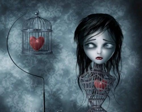 Женщина с сердцем в клетке и токсичные семьи