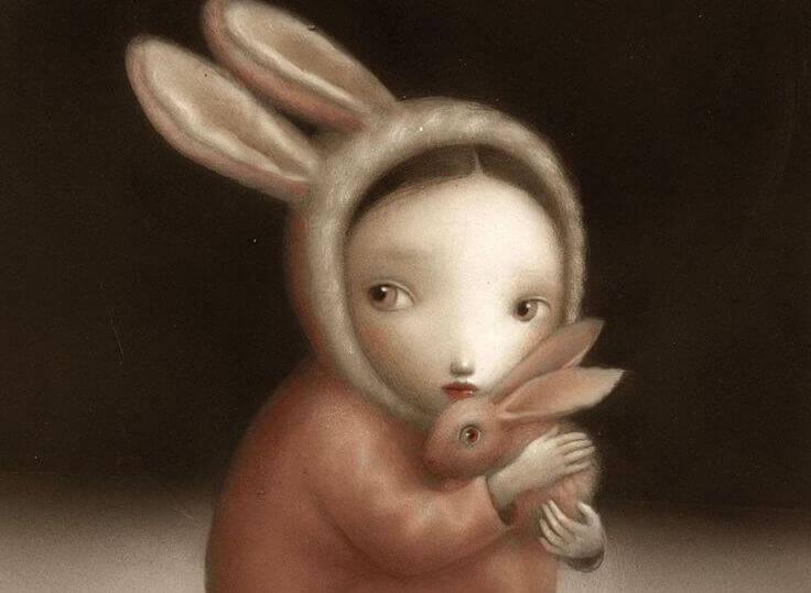 Девочка в костюме кролика и дети