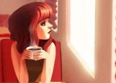 Женщина с кофе и ожидание