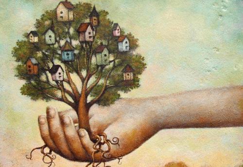 Рука держит дерево и вера в себя