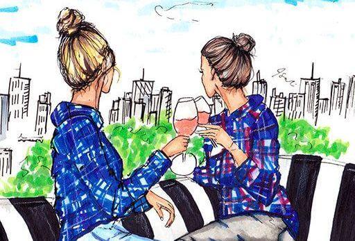 Сестра за бокалом вина