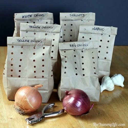 Как хранить свежий лук и продукты