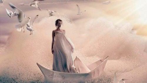 Женщина в лодке и отрицательные эмоции
