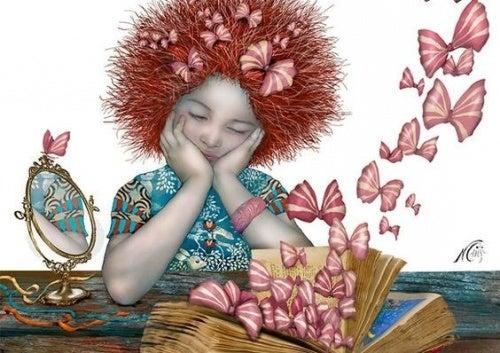 Девочка с бабочками и тело