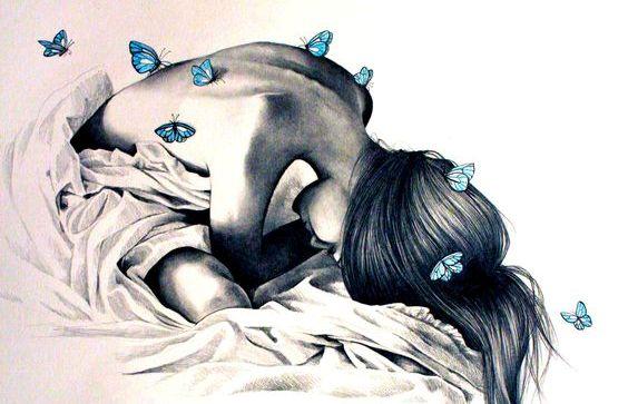 Женщина с бабочкой и тело