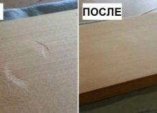 Вмятины на деревянной поверхности