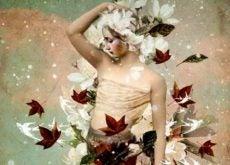 Женщина в вихре листьев и общение