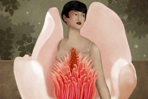 Женщина с цветком и удача