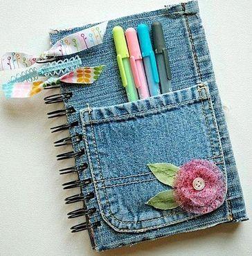Обложки для тетрадей из джинсов