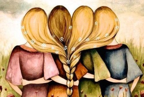 Братья и сестры сплелись волосами