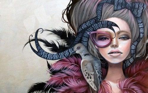 Женщина с птицей на плече