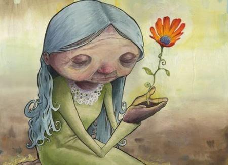 Старушка с цветком и молодость души