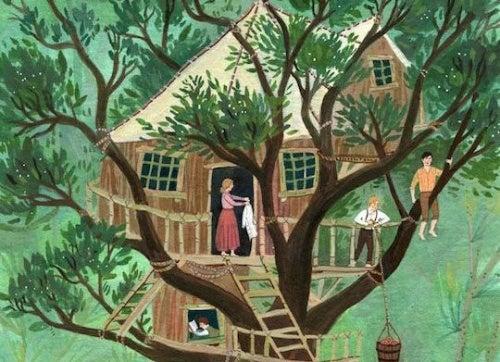 Дом где живет любовь на дереве