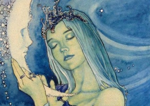 Женщина и луна и спокойствие