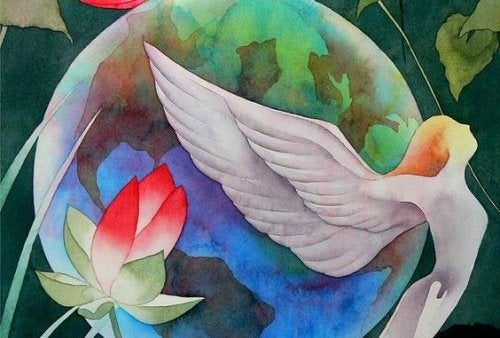 Женщина с крыльями и спокойствие