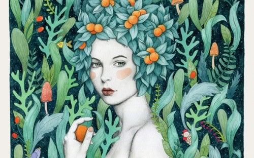 Настоящая женщина с фруктами в волосах