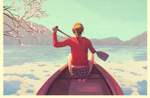Женщина на лодке