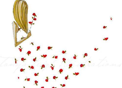 Женщина в платье из роз принимает решения