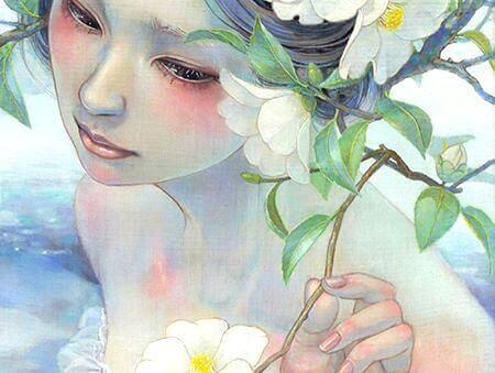 Женщина с цветами, залечивающая раны