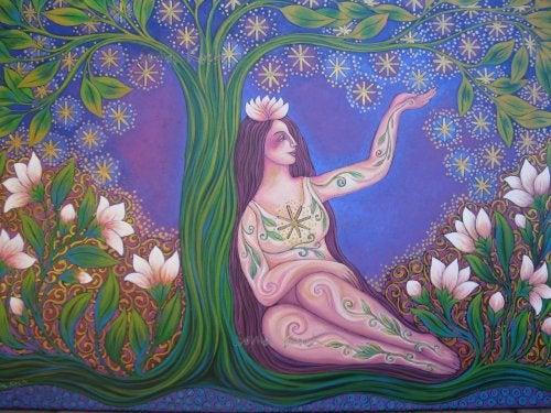 Женщина в лесу и быть счастливее