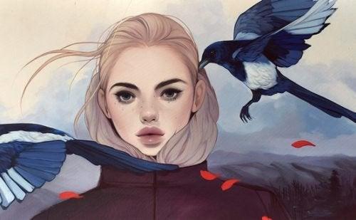 Девушка и птицы