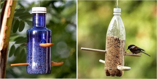 Кормушка для птиц и пластиковые бутылки