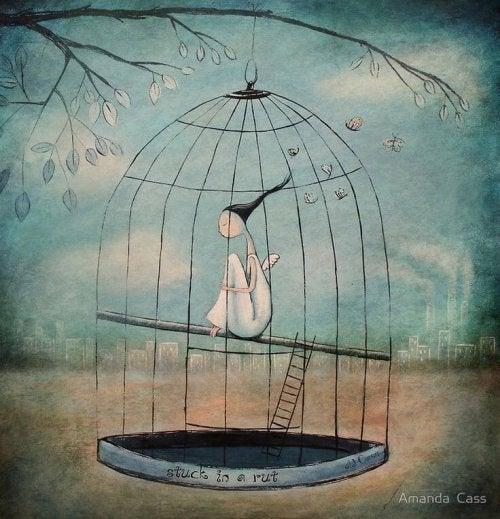 Женщина в клетке и мечты о счастье