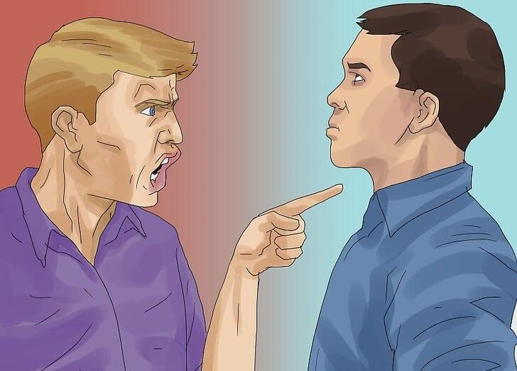 Мужчины спорят и могут противостоять критике
