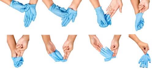 Надеть и снять перчатки